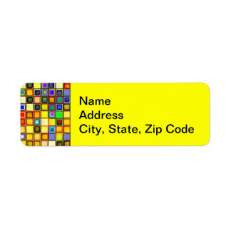 Scorching Yellow And Cool Blue Tiles Pattern Labels