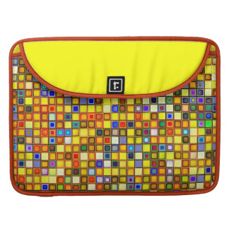 Scorching Yellow And Cool Blue Tiles Pattern Sleeves For MacBooks
