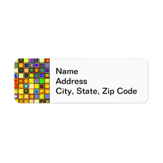 Scorching Yellow And Cool Blue Tiles Pattern Return Address Label