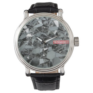 SCORE Men's Vintage Black Leather Strap Watch