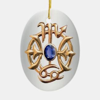 Scorpio and Pisces Medallion Ceramic Oval Ornament