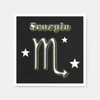 Scorpio chrome symbol paper napkin