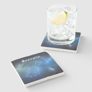 Scorpio constellation stone coaster