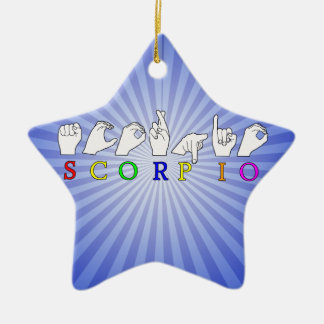 SCORPIO FINGERSPELLED ASL NAME ZODIAC SIGN CERAMIC ORNAMENT