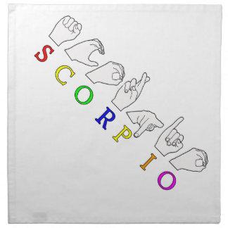 SCORPIO FINGERSPELLED ASL NAME ZODIAC SIGN NAPKIN