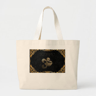 Scorpio golden sign large tote bag