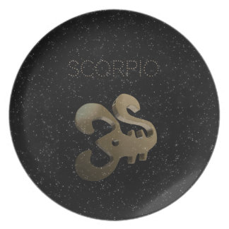 Scorpio golden sign party plate