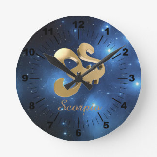 Scorpio golden sign wall clock