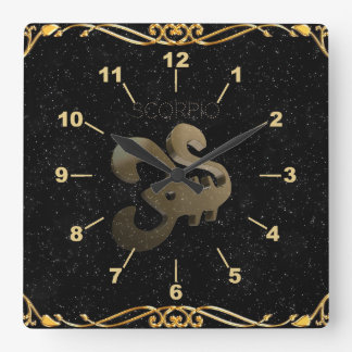 Scorpio golden sign wall clocks