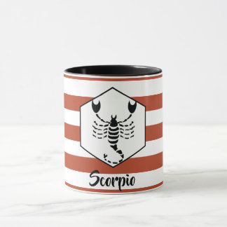 Scorpio Horoscope Silhouette on Rust Stripe Mug