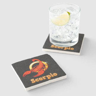 Scorpio illustration stone coaster