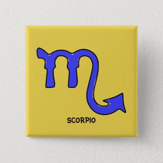 Scorpio symbol 2 inch square button