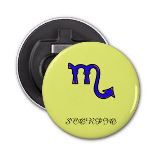 Scorpio symbol button bottle opener