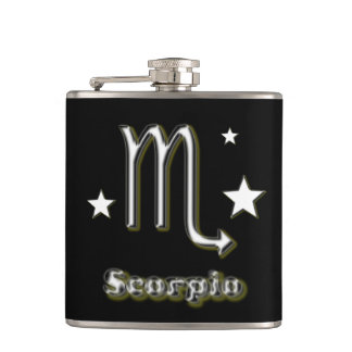 Scorpio symbol hip flask