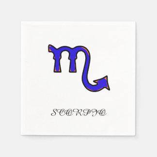 Scorpio symbol paper napkins