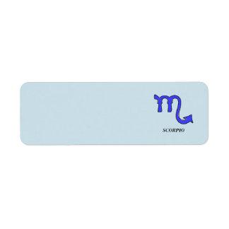 Scorpio symbol return address label