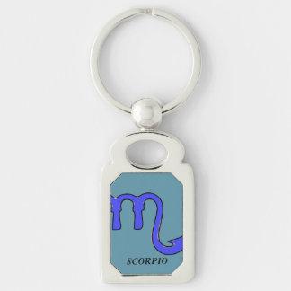 Scorpio symbol Silver-Colored rectangle keychain