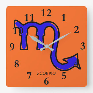 Scorpio symbol square wall clock