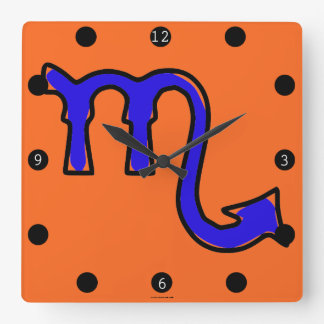 Scorpio symbol square wall clock
