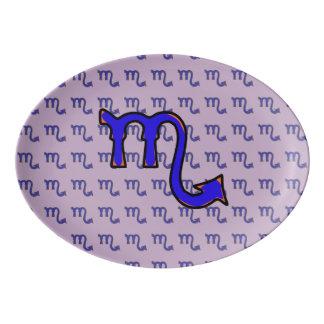 Scorpio symbol t porcelain serving platter