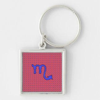 !Scorpio t Silver-Colored Square Keychain