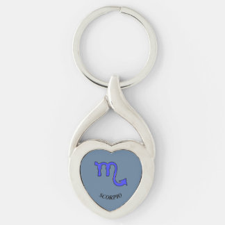 !Scorpio t Silver-Colored Twisted Heart Keychain