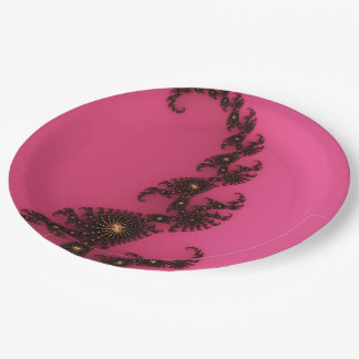 Scorpio Tail, Fractal Art - Pink Gold Black Paper Plate
