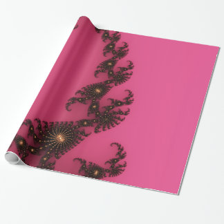Scorpio Tail, Fractal Art - Pink Gold Black Wrapping Paper