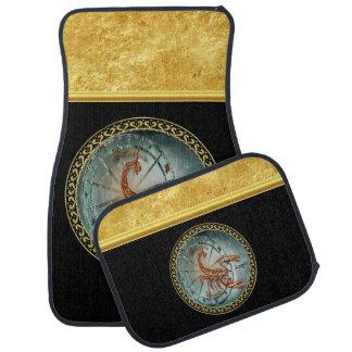 Scorpio Zodiac Astrology black gold foil design Car Mat