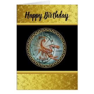 Scorpio Zodiac Astrology black gold foil design Card