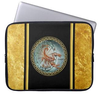 Scorpio Zodiac Astrology black gold foil design Laptop Sleeve