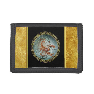 Scorpio Zodiac Astrology black gold foil design Tri-fold Wallet