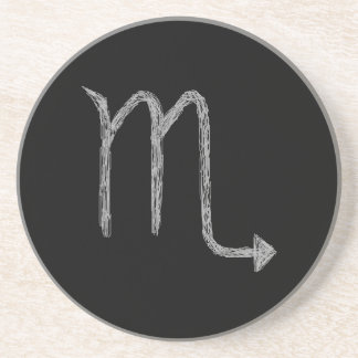Scorpio. Zodiac Astrology Sign. Black. Coaster