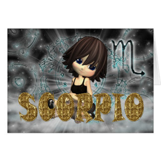 Scorpio Zodiac Birthday card with cutie pie Aquama