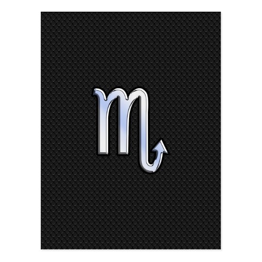 Scorpio Zodiac chrome like Sign black snake skin Postcard