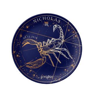 Scorpio Zodiac Full Navy Blue & Gold Birth Plate