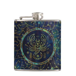Scorpio Zodiac Gold Abalone on Constellation Hip Flask