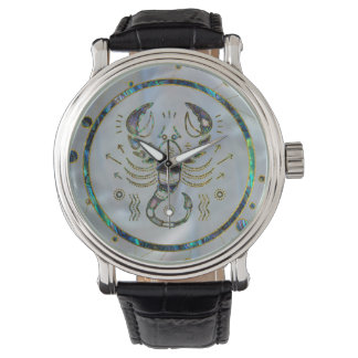 Scorpio Zodiac Gold Abalone on Constellation Watch