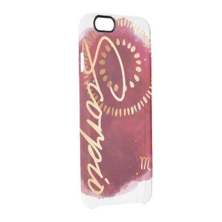 Scorpio Zodiac Maroon & Gold Watercolour Galaxy Clear iPhone 6/6S Case