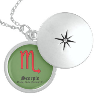 Scorpio zodiac sign locket necklace