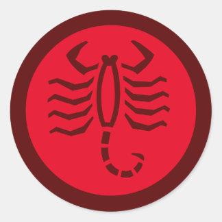 Scorpio Zodiac Sign Red Round Sticker