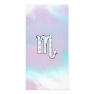 Scorpio Zodiac Symbol in Mother of Pearl Style Photo Greeting Card