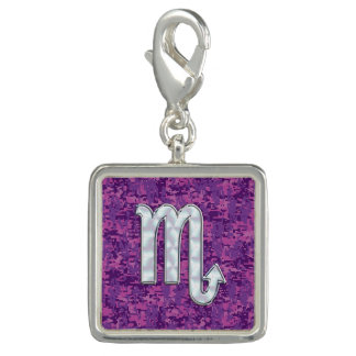 Scorpio Zodiac Symbol on Pink Digital Camouflage Charm