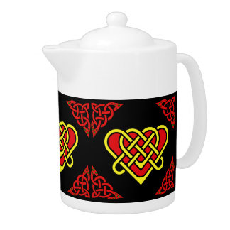Scotalnd Celtic/gold/red braided heart, black