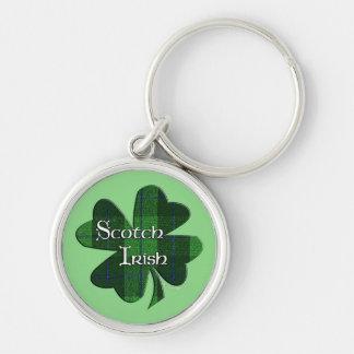 Scotch Irish Green Plaid Shamrock Keychain