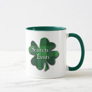 Scotch Irish Plaid Shamrock Mug
