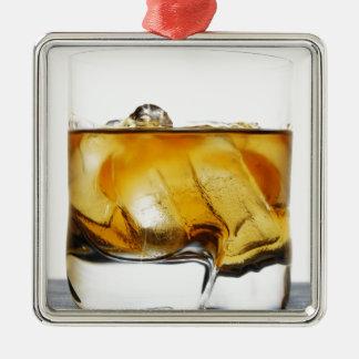 Scotch On The Rocks Silver-Colored Square Ornament