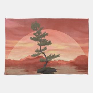 Scotch pine bonsai tree - 3D render Kitchen Towel