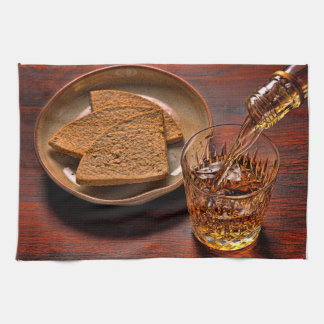 Scotch Whisky and Oatcakes Photograph Kitchen Towel