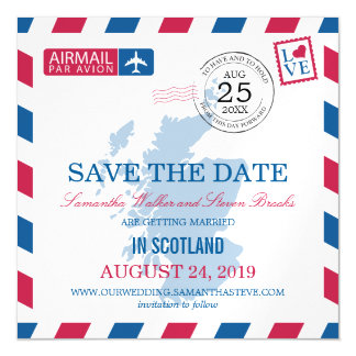 Scotland Airmail Save the Date Magnetic Card